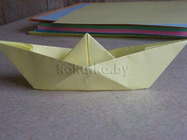 Как сделать кораблик с одной трубой из бумаги
