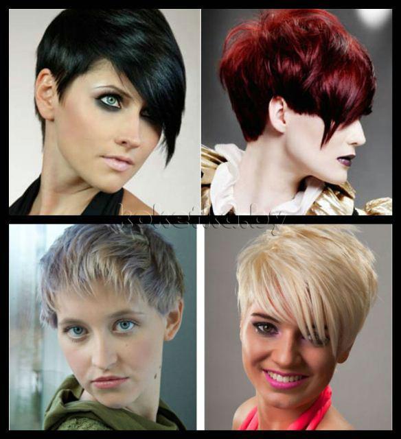Женские короткие стрижки с косой челкой