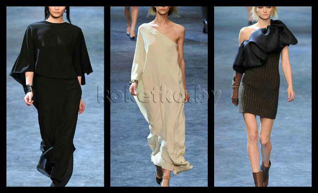 Из категории длинных платьев, модными будут платья-балахоны и платья-туники. модные тренды 2012?  Так что диктуют нам.
