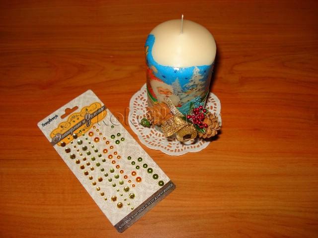 Новогодняя свеча в технике декупаж своими руками. Мастер класс