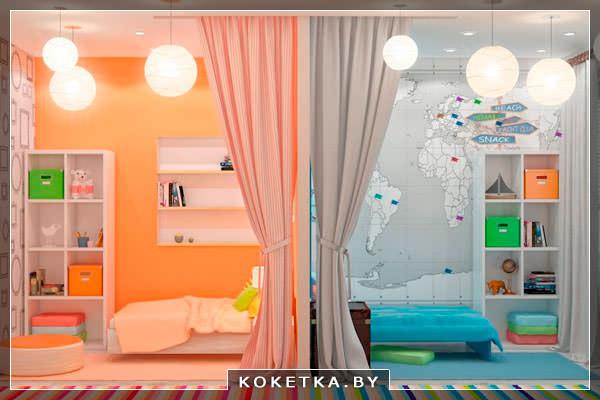 Общий дизайн детской комнаты может быть в двух вариантах
