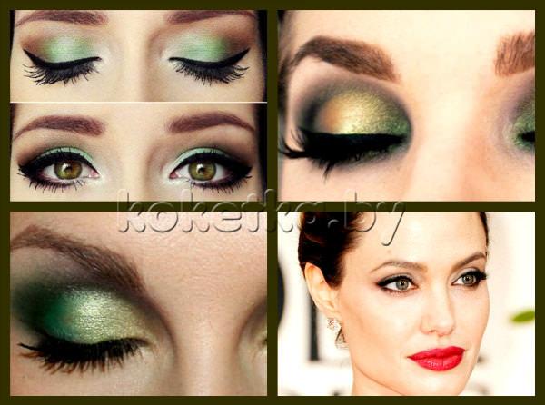 Макияж для зелёно-карих глаз