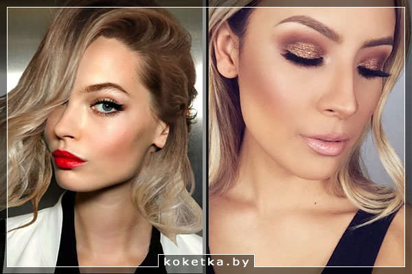 Варианты вечернего макияжа для блондинок