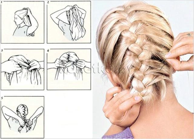 Как сделать две косы на короткие волосы