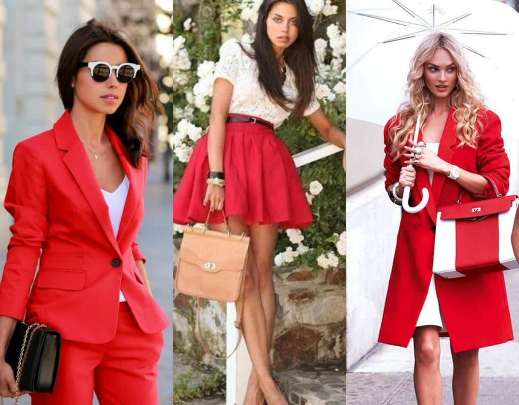 сочетание цветов белый красный черный в одежде основе