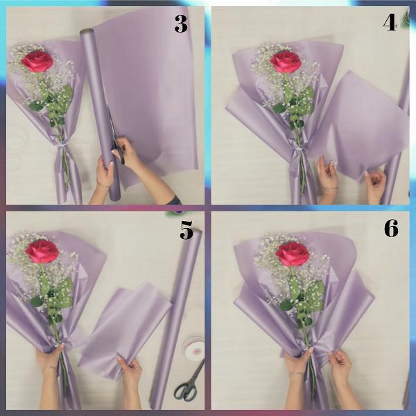 Делаем упаковку для 1 розы более пышной
