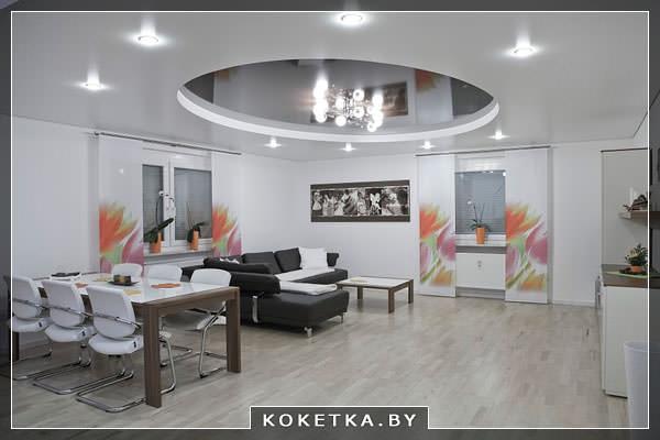 Подвесной натяжной потолок позволяет оптически изменить размер помещения