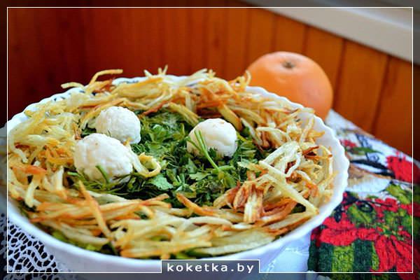 Классический рецепт салата Гнездо глухаря с курицей: подробный фото-рецепт