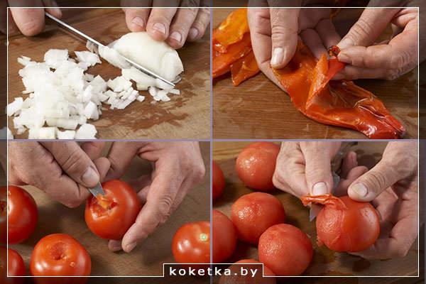 Нарезаем репчатый лук, чистим печёный перец и свежие томаты от кожуры