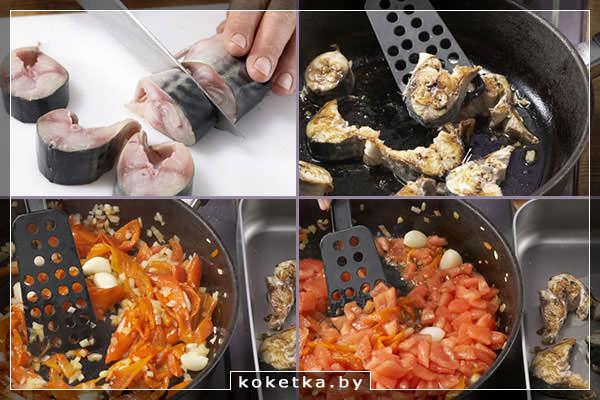 Разделываем скумбрию, обжариваем её и овощи