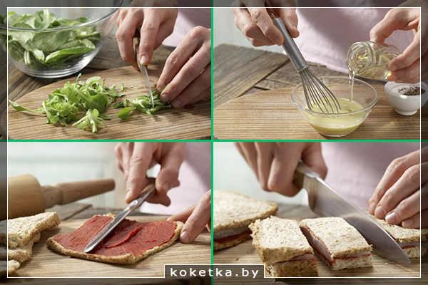 Готовим салат, раскатываем гренки