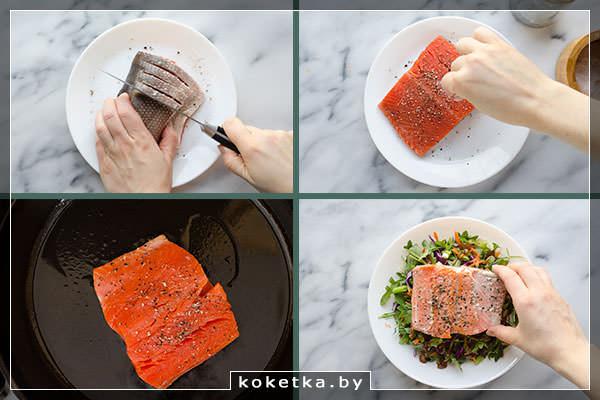 Надрезаем, солим и перчим стейк из лосося, жарим его