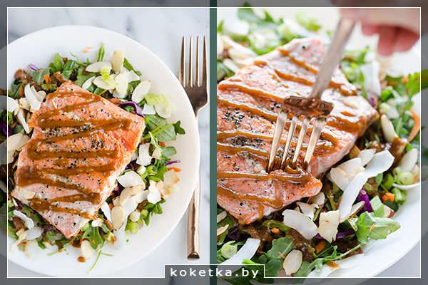 Готовый лосось с салатом